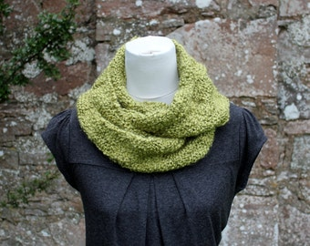 SCARF knitted chunky womens, Apple green neckwarmer infinity loop scarf, gift for her, vegan knitwear UK
