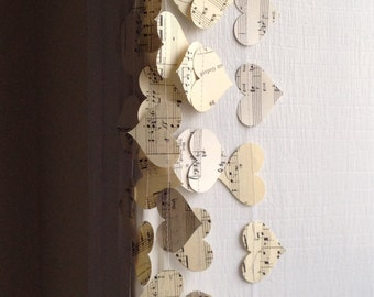 Vintage Sheet Music Paper Heart Garland - Choose the Length - Sweet Vintage Wedding Decoration - Musical Notes Garland - Horizontal Hanging