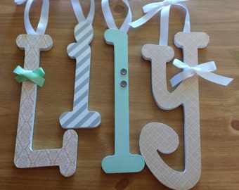 Baby Girl, Wooden Letters,Custom Nursery Decor, PEACH, MINT and GREY, Hanging Name Letter, Wood Wall Sign,  any size or font in this shop