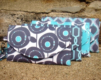 Mini Bridesmaids Clutches, Aqua and Grey Bridesmaids Clutches, Bridesmaids Gift, Bridesmaids Wristlets, Aqua and Gray Cltuch