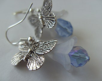 Blue and silver, Butterfly, flower, blue bell, earrings, Butterfly earrings,Frozen, By NewellsJewels on etsy