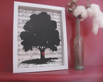 Tree Silhouette Art on Vintage Sheet Music Background with personalized mini heart- UNFRAMED