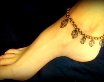 Anklet - Dangling Leaves in Antique Copper