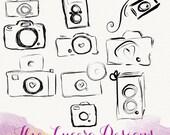 PNG camera doodle clip art, overlays, digital embellishments
