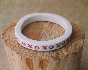 Ceramic Jewelry XOXO Red Porcelain Boho Bangle by Mrs Peterson Pottery