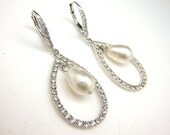 Jewelry bridesmaid gift prom party bridal wedding earrings swarovski teardrop white or cream ivory pearl cubic zirconia deco leverback hook