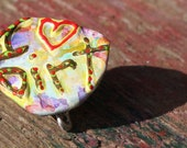 I Love Dirt, I Heart Dirt, Dirt Pin, Upcycled Pin Back Button OOAK: I heart Dirt - frugal gardner gift - shipping included