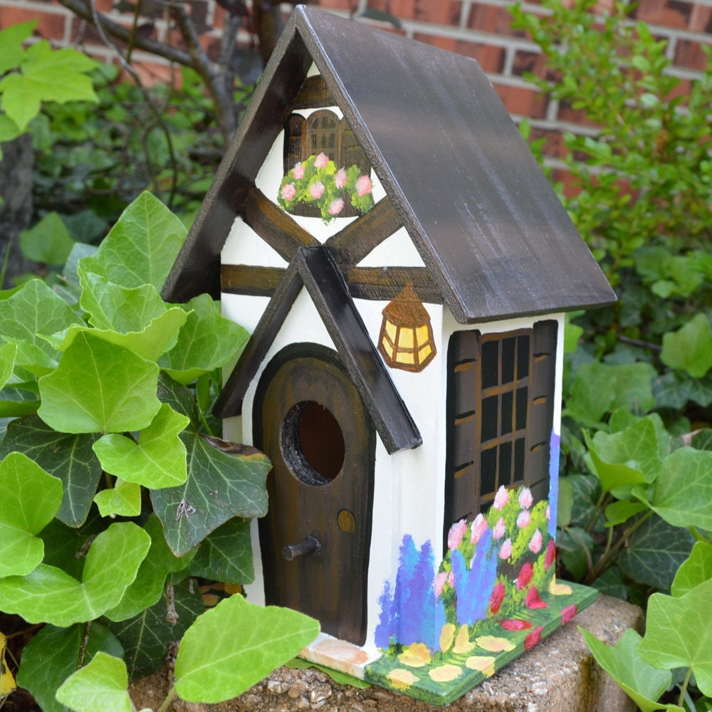 Hand painted cottage birdhouse by paintbrushedboutique on etsy