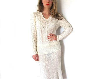 SALE vintage dress set sweater 1980s ivory off white size small s medium m