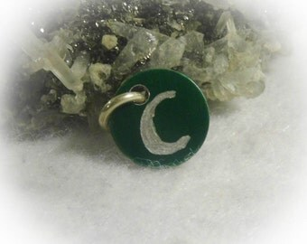 Letter C Hand Engraved Green Personalized Small  Charm 1/2 inch