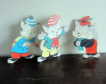 Vintage Three Little Kittens Nursery Wall Art - 1950s - midcentury - The Dolly Toy Company - nursery rhyme - Cat Art - Kid's Room Decor