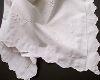 white cotton sham - antique, embroidered, scalloped