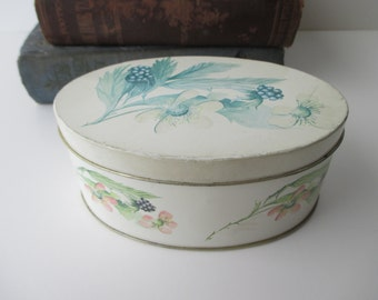 vintage blackberry DECORATIVE TIN - floral, Made in ENGLAND, oval