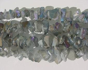Light Blue with Purple Flash Titanium Quartz Chunky Top Drilled Points, Full Strands  13T169