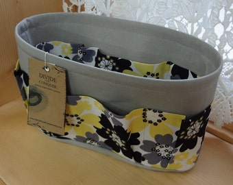 Purse ORGANIZER Insert SHAPER / Bag Organizer / Floral #7 on Gray / STURDY / 5 Sizes Available / Check out my shop for more styles & colors