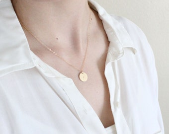 Personalized Necklace, Gold Monogram Necklace, gold initial disc monogram necklace, initial circle necklace in gold
