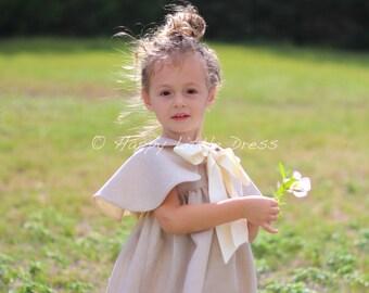 Rustic flower Girl Cape. Linen Cape for Girls.