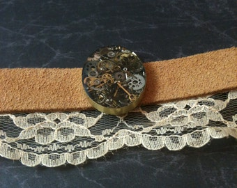 Leather and Lace Clockwork Clutter Bracelet