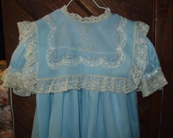 SALE Heirloom Dress size 4 blue/ecru hand embroidery  Pageant Party Portrait Graduation wedding beach wedding