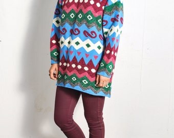 30% OFF SALE!! VTG 1980s Oversize Geometric Sweater // sz S/M