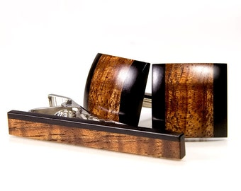 Wood Cuff Link Tie Bar Set - Hawaiian Koa Ebony - Custom Cufflinks - Perfect Gift For Wedding,5th Anniversary, Father's Day, Graduation