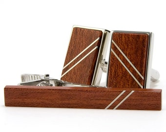 Wood Cuff Link Tie Bar Set - Silver Bloodwood - Silver Inlay - Unique Gift for Graduation, Wedding, Anniversary, Cool Fathers Day Gift