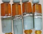 DUET - Lake Chapala - Tubes - 5 Handmade Lampwork Glass Beads - Inv167-L1-L2