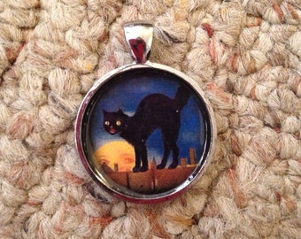 Halloween Kitty Pendant Necklace-FREE SHIPPING-