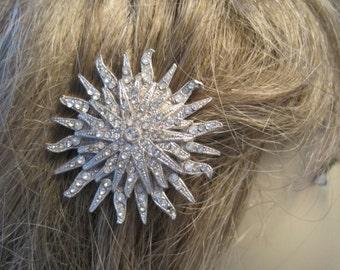 Vintage Large Rhinestone Snowflake Sun or Starburst Hair Clip...Bridal.Winter Wedding...Beach Wedding