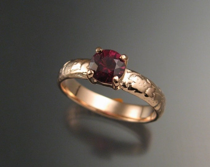 Garnet Natural Raspberry Rhodolite  Wedding ring 14k rose Gold Ruby substitute ring made to order in your size