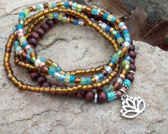 Lotus Flower charmed Beaded Stretch Stack Bracelets - Bohemian Hippie - Zen Bracelets
