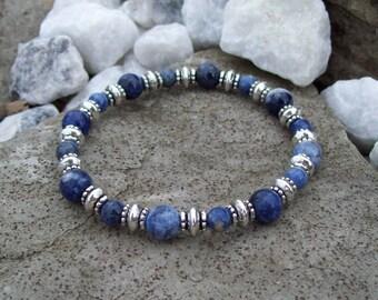 Sodalite Gemstone beaded Bracelet, Stretch Bracelet, Bohemian - Hippie Harmony