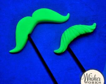 Black Light Halloween Props - Mustaches on Sticks - Set of 2