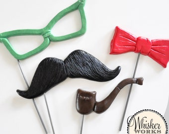 Specialty Photo Booth Props - Glasses, Mustache, Tie and Pipe