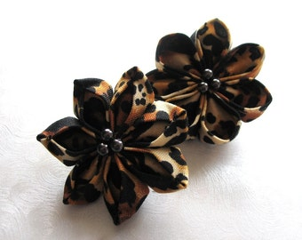 Little Leopards Kanzashi Flower Hair Clips