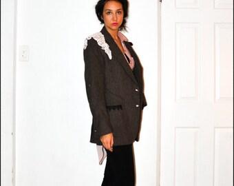 Upcycled Repurposed Velvet Lace Tweed Brown and Black Chevron Blazer