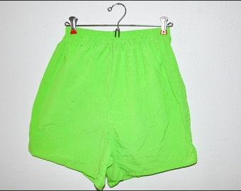 F U N 1990S  Bright Neon Green Lime Gitano Swimwear Swim Trunks Shorts