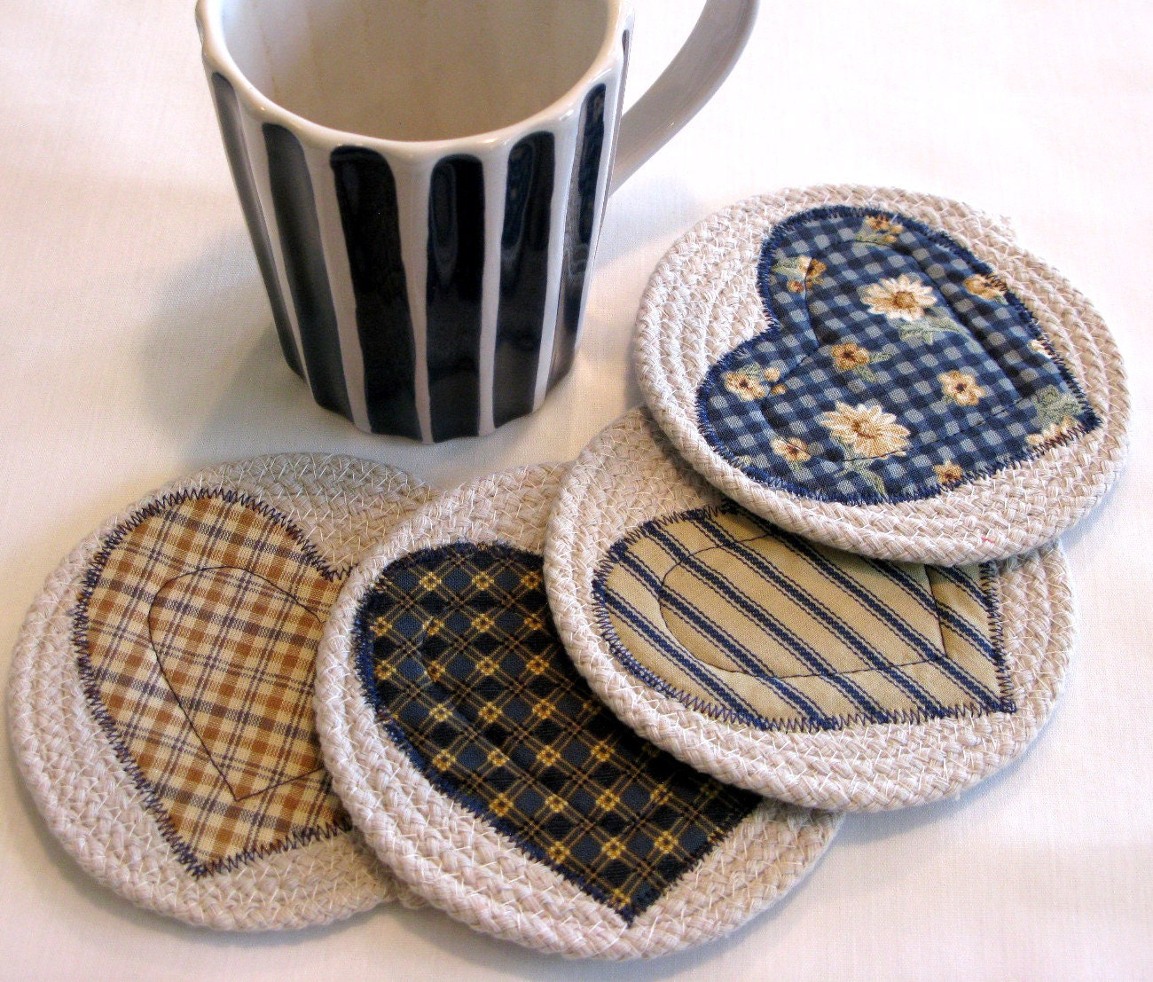 Coasters Coiled Fabric Coasters Mug Rugs Trivets Shabby