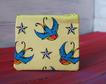 Swallow and Nautical Star Tattoo Change Purse with Canvas lining