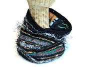 Knitted Cowl Scarf Black Lined Reversible