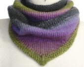 Cowl Knit Bandanna Style Woman Scarf Wool Striped Olive Green