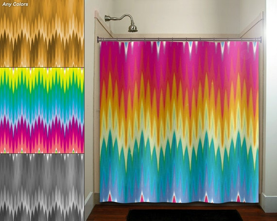 Multi Color Ikat Rainbow Colorful Chevron Shower By TablishedWorks
