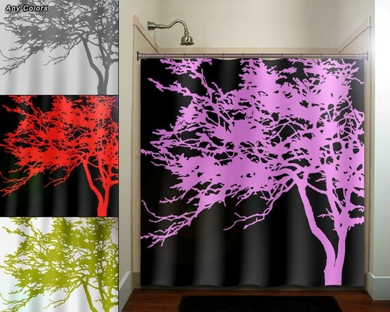 Pink Tree Black Shower Curtain Fabric Extra Long Window