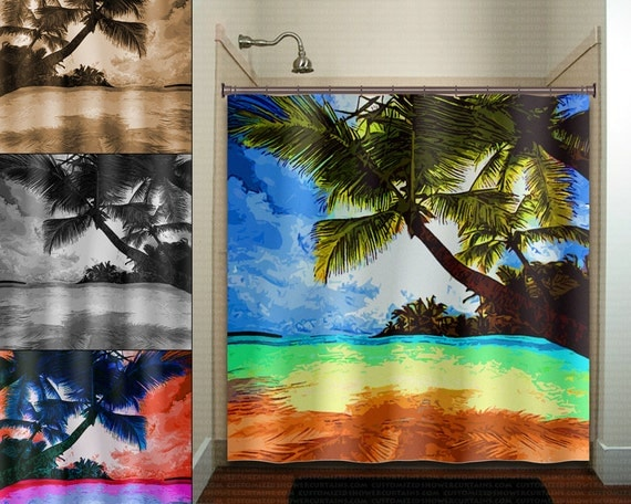 Tropical Beach Paradise Palm Tree Shower Curtain Fabric Extra
