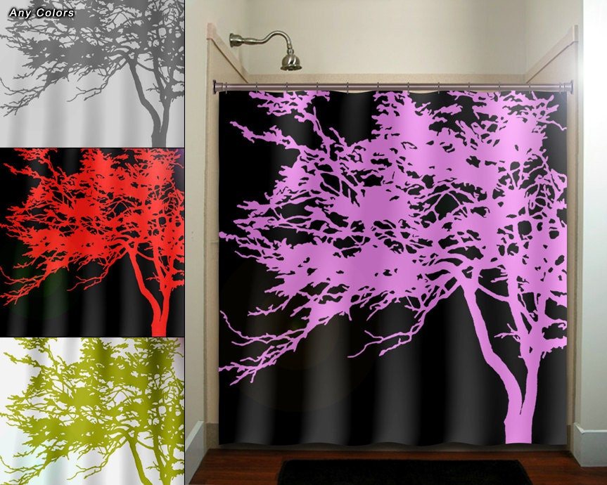 Exceptionnel Pink Tree Black Shower Curtain Bathroom Decor By