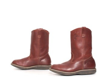 size 8.5 RANCH brown leather ENGINEER 70's mid calf HUNTING boots