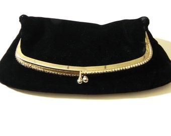 Vintage Black Velvet Clutch with Rhinestones Henri Lou - on sale