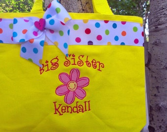 Big sister bag- YELLOW- bright pink flower- Personalized @  No additional charge