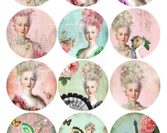 Marie Antoinette 2.5 Inch Circle images Craft,Scrapbooking Supply, Magnet, Buttons,PocketMirror,Printable Digital Collage Sheet