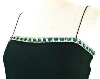 Flowing Sexy Black Silk 70s Thin Strap Dress w/ Rhinestone Trim of Emerald Green and White for Dancing Prom Cocktails
